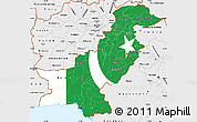 Flag Simple Map of Pakistan, single color outside, borders and labels
