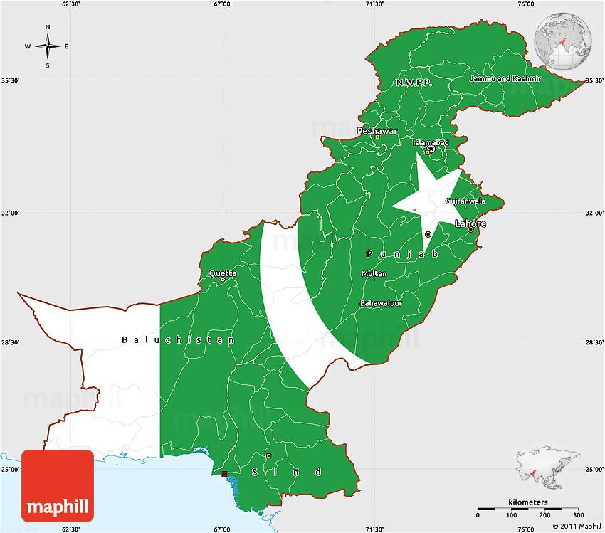 Flag Simple Map Of Pakistan, Single Color Outside