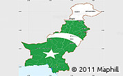 Flag Simple Map of Pakistan, single color outside, flag rotated