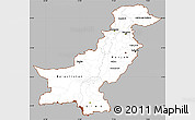 Gray Simple Map of Pakistan, cropped outside