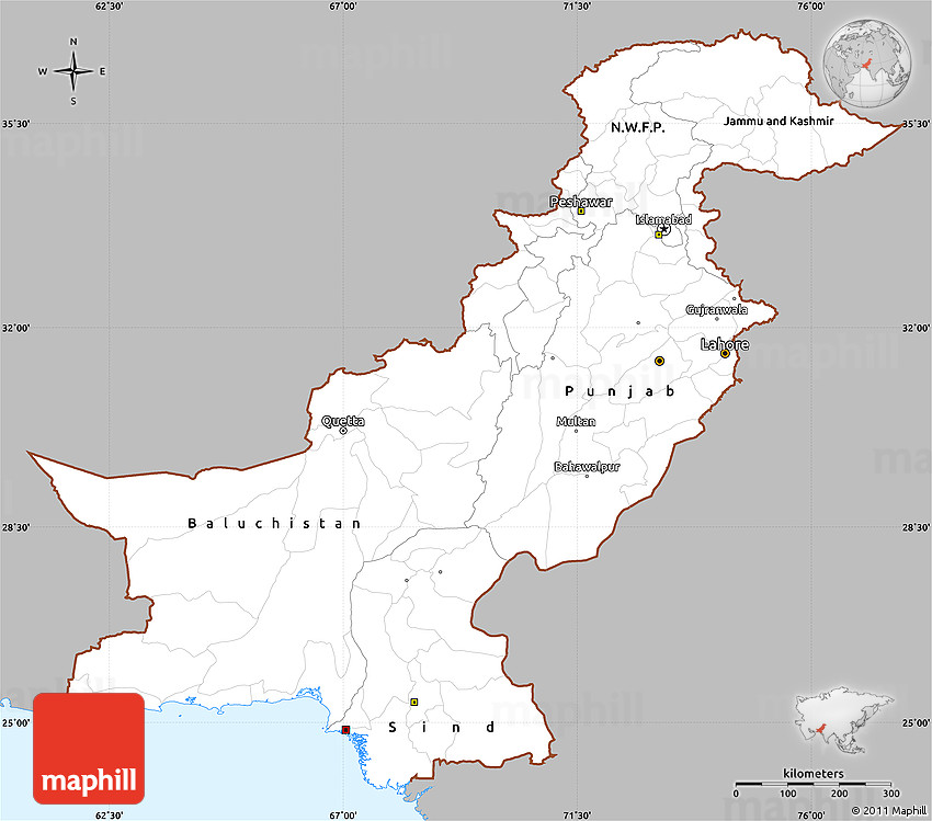 Simple Site Map: Gray Simple Map Of Pakistan, Single Color Outside