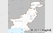 Gray Simple Map of Pakistan, single color outside