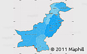 Political Shades Simple Map of Pakistan, cropped outside