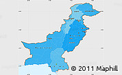 Political Shades Simple Map of Pakistan, single color outside