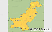 Savanna Style Simple Map of Pakistan, cropped outside