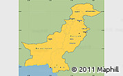 Savanna Style Simple Map of Pakistan, single color outside