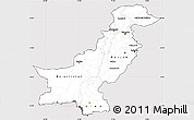 Silver Style Simple Map of Pakistan, cropped outside