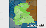 Political Shades 3D Map of Sind, darken