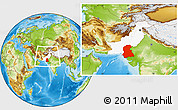Physical Location Map of Sind, highlighted country, within the entire country
