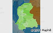 Political Shades Map of Sind, darken