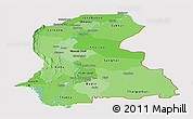 Political Shades Panoramic Map of Sind, cropped outside
