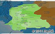 Political Shades Panoramic Map of Sind, darken