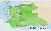 Political Shades Panoramic Map of Sind, lighten