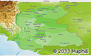 Political Shades Panoramic Map of Sind, physical outside