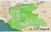 Political Shades Panoramic Map of Sind, satellite outside