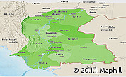 Political Shades Panoramic Map of Sind, shaded relief outside