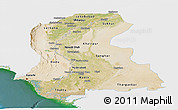 Satellite Panoramic Map of Sind, single color outside