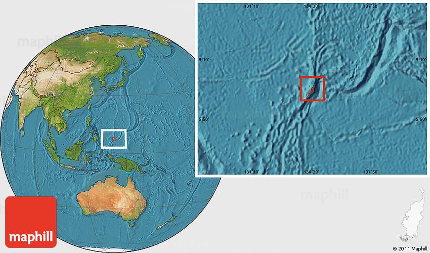 Satellite Location Map Of Palau