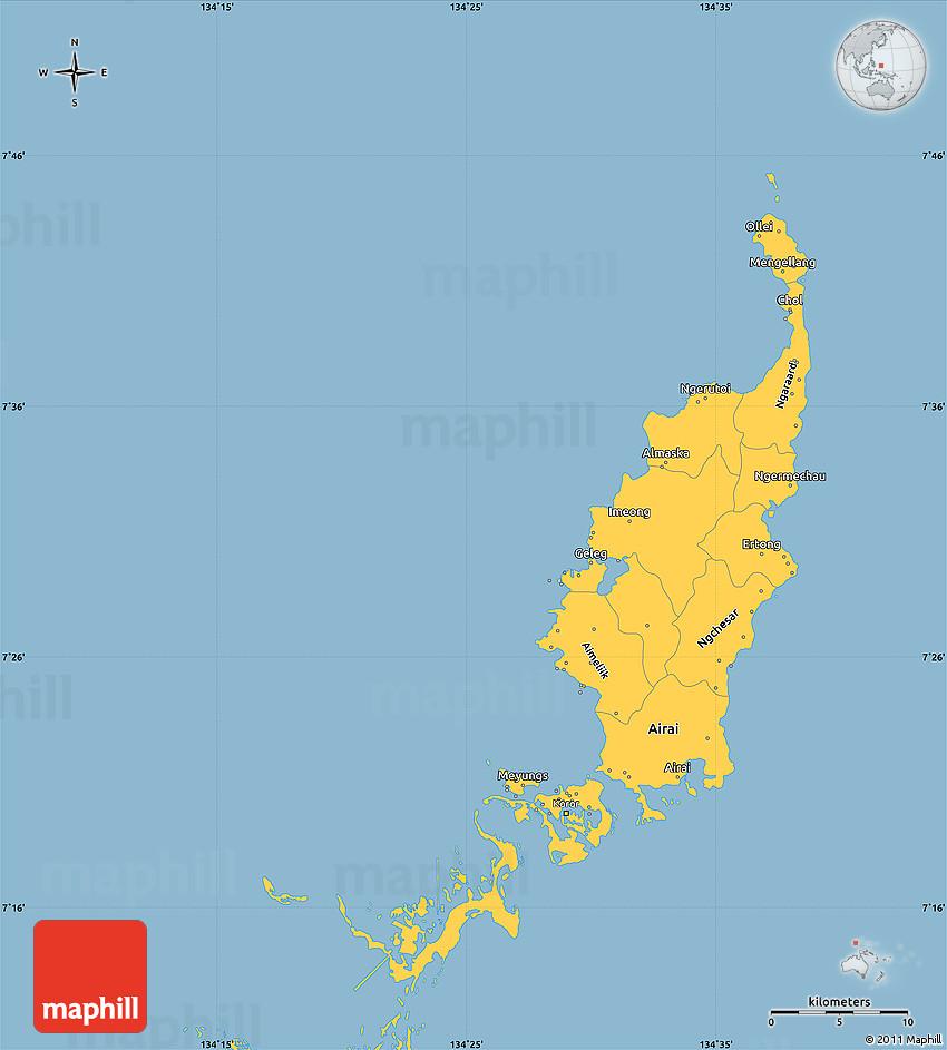 Savanna Style Simple Map Of Palau - Palau map