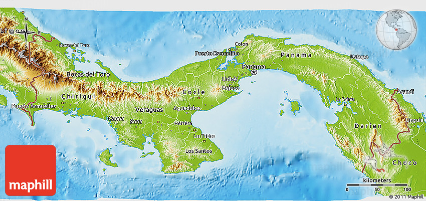 Topographic Map Of Panama.Physical 3d Map Of Panama