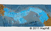 Political Shades 3D Map of Panama, darken