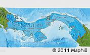 Political Shades 3D Map of Panama, satellite outside, bathymetry sea
