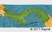 Satellite 3D Map of Panama, political shades outside, satellite sea