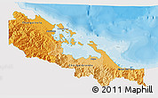 Political Shades 3D Map of Bocas del Toro, single color outside