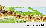 Physical Panoramic Map of Chiriqui Grande