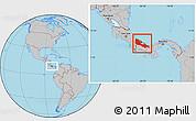 Gray Location Map of Bocas del Toro