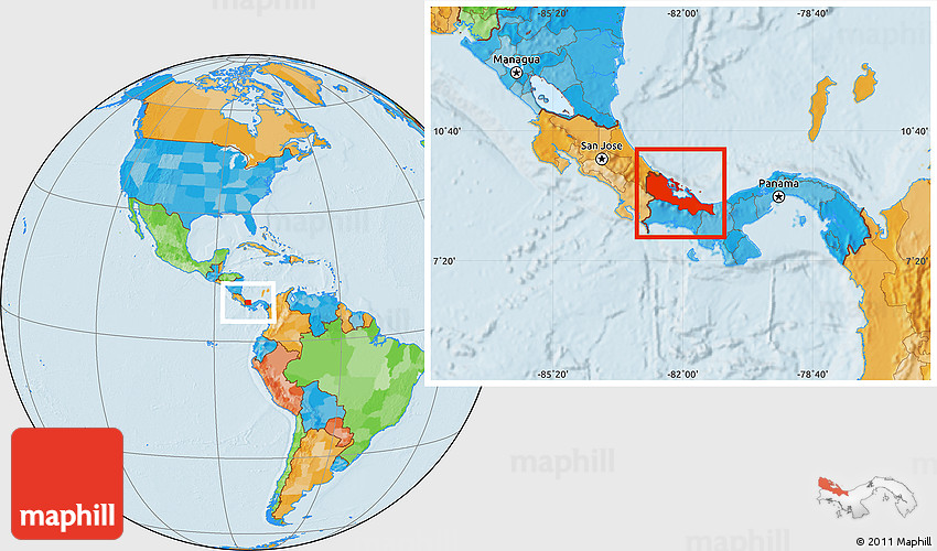Political Location Map of Bocas Del Toro