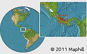 Satellite Location Map of Bocas del Toro