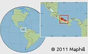 Savanna Style Location Map of Bocas del Toro