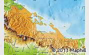 Political Shades Map of Bocas del Toro, physical outside