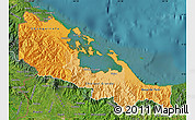 Political Shades Map of Bocas del Toro, satellite outside