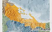 Political Shades Map of Bocas del Toro, semi-desaturated