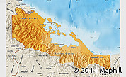 Political Shades Map of Bocas del Toro, shaded relief outside