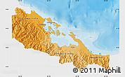 Political Shades Map of Bocas del Toro, single color outside