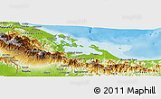 Physical Panoramic Map of Bocas del Toro