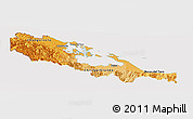 Political Shades Panoramic Map of Bocas del Toro, cropped outside