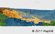 Political Shades Panoramic Map of Bocas del Toro, darken