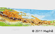 Political Shades Panoramic Map of Bocas del Toro, physical outside