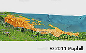 Political Shades Panoramic Map of Bocas del Toro, satellite outside
