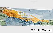 Political Shades Panoramic Map of Bocas del Toro, semi-desaturated