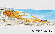 Political Shades Panoramic Map of Bocas del Toro, shaded relief outside