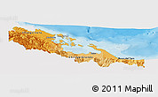 Political Shades Panoramic Map of Bocas del Toro, single color outside