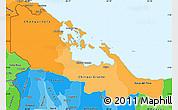Political Shades Simple Map of Bocas del Toro
