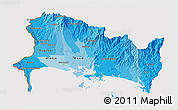 Political Shades 3D Map of Chiriqui, cropped outside