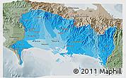 Political Shades 3D Map of Chiriqui, semi-desaturated