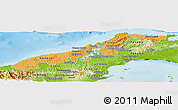 Political Shades Panoramic Map of Colon, physical outside